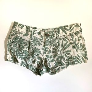 HOLLISTER Green and White Floral Shorts Size 0
